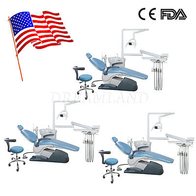 3X Dental Unit Chair Thermostatic Water Supply Computer Controlled Stools PU FDA