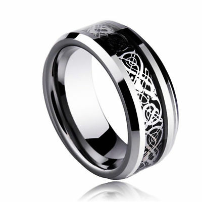 Celt Dragon Band Ring Men Stainless Steel Titanium Gold Silver Black Size 5-13