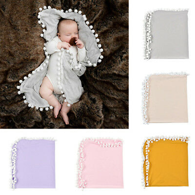 Newborn Baby Boys Girls Crib Pom Pom Blanket Sleeping Swaddle Minky Blanket Wrap