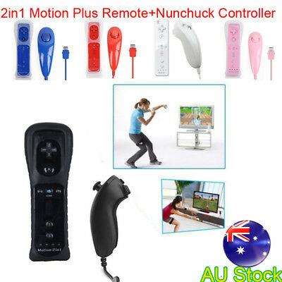 2in1Motion Plus Remote+ Nunchuck Controller for Nintendo Wii /U +Silicon Case AU
