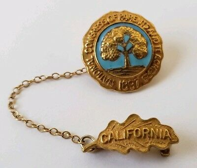 National Congress of Parents and Teachers 1897 California Gold Pin Vintage