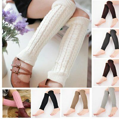 Women's Winter Crochet Knitted Stocking Leg Warmers Boot High Socks Fancy EW