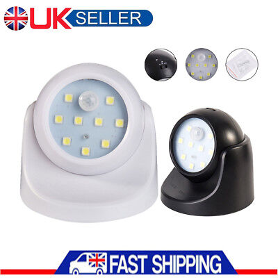 360° Battery Operated Indoor Outdoor Garden Motion Sensor Security LED Light UK