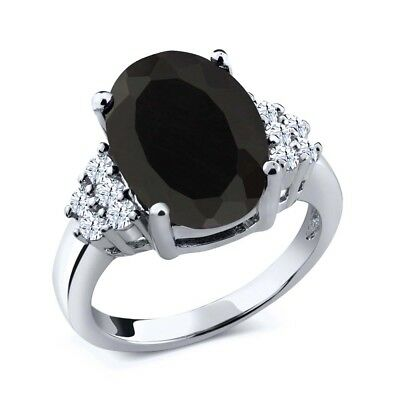 5.40 Ct Oval Black Onyx White Created Sapphire 925 Sterling Silver Ring