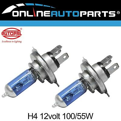 2 x Super Blue H4 100/55w Halogen Headlight Head Lamp Bulbs 12 volt Car Truck