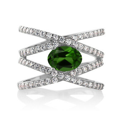 2.13 Ct Oval Green Chrome Diopside 925 Sterling Silver Criss Cross Ring