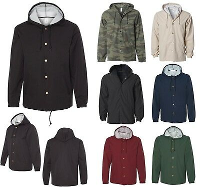 Men's Snap Front, Coaches Jacket, Hood Resists Water, Breathable, Pockets Xs-3Xl