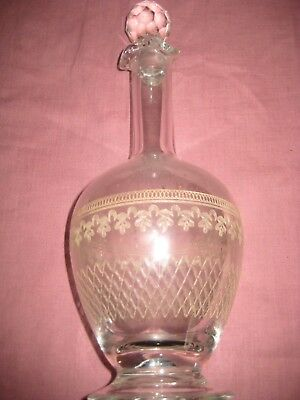 Victorian Decanter  Etched Decoration with Faceted Stopper