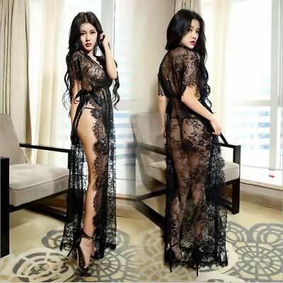 Lingerie Hut Sexy Lace Long Sheer Robe Gown Full Sleeve Nightwear