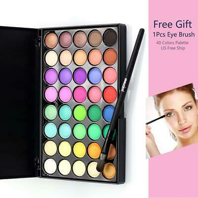 Pro 40 Colors Makeup Eyeshadow Palette Eye Shadow HighLight Shimmer W/ Eye Brush