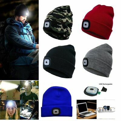 USB Rechargeable Unisex LED Beanie Hat With 5 Hours High Powered Battery Lights