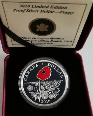 kanada 1 Dollar 2010  Limited Edition Proof Silver - Poppy Mohnblume  Zertifikat