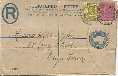 Boer War 1901 2d Reg'd Letter Uprated 9d from British Army FPO to Cape Town