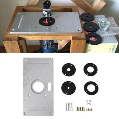 Aluminum Table Router Insert Plate w/ 4 Rings Screws For Woodworking Benches