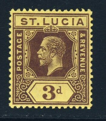 ST LUCIA King George V 1912 3d. Purple/Yellow Die I SG 82 MINT