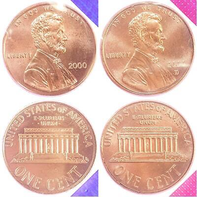 2000 P D Lincoln Memorial Cent BU US Mint Cello 2 Coin Penny Set