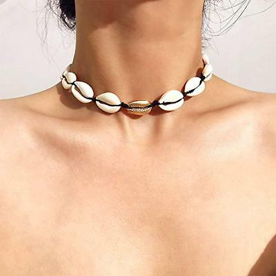 Women Girls Stylish Cowrie Shell Choker Necklace Gold Beads Beach Clavicle Chain