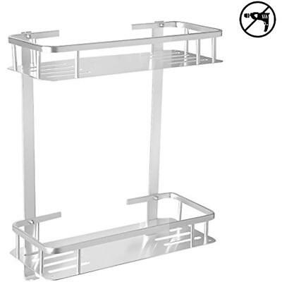 TIANG-Aluminium Two Bathroom Shelves Tier Wall Hanging Rectangle Shelf