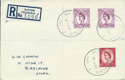 GB 1957 1/2.1/2d Reg'd Cover with Sutton Coldfield  30mm Skeleton CDS - Scouts