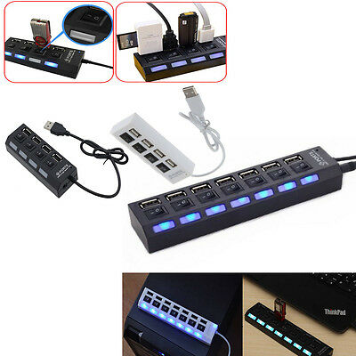 3/4/7-Port USB Adapter 2.0 Hub with High Speed ON/OFF Switch for Laptop PC New