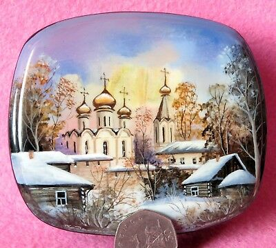 Fedoskino LACQUER box Russian hand painted WINTER Suzdal Kremlin Christmas GIFT