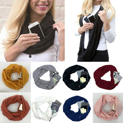 Unisex Convertible Infinity Circle Loop Scarf With Hidden Zipper Pocket Scarves