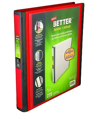 Staples Better View Binder, Red D 3-Ring