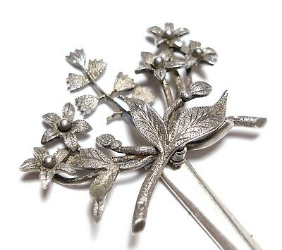 Beautiful Old Antique Victorian Aesthetic Silver Floral Hair Ornament Pin (A9)