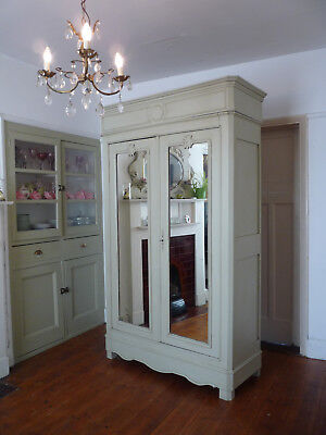 Painted Antique Louis Philippe French Armoire Linen Cupboard
