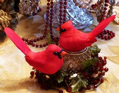 Pair (2) Lipstick Red Cardinals Birds Christmas Tree Ornaments Crafts Decoration
