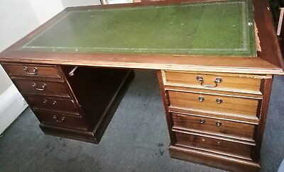 Antique Style Mahogany Leather top Twin Pedestal Partners Desk Several to sell.