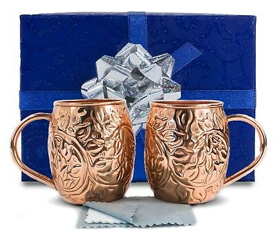 Set of 2 Moscow Mule Copper Mugs and Cups - Authentic and 100% Pure Solid Copper