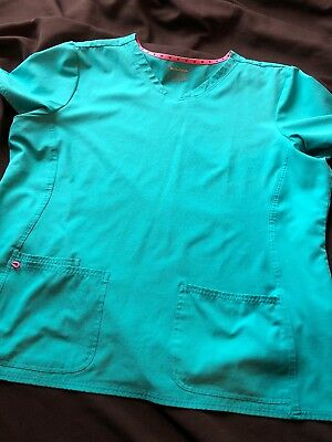 Heart & Soul Scrub Top Sz 3X Teal Light Blue Must See Hardly Worn!!