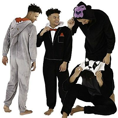 1Onesie For Mens All in One Pyjamas Pajamas Older Boys Fleece Dinosaur Animal