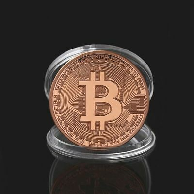 Coin Gift Rose Gold BTC Plated Bitcoin Coin Collectible Art