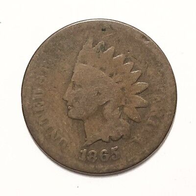 Semi Key Date Rare Old Indian Head Penny Cent 1865 Good Grade Civil War Era Coin