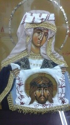 "Orthodox Byzantine hand painted icon ""Saint Veronica is bleeding"" 30x40"