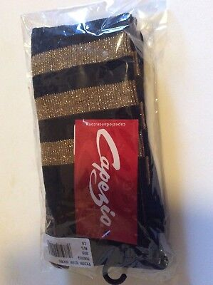 Nwt Capezio Dance Black With Gold Stripe Thigh High Socks Size M/l Nwt
