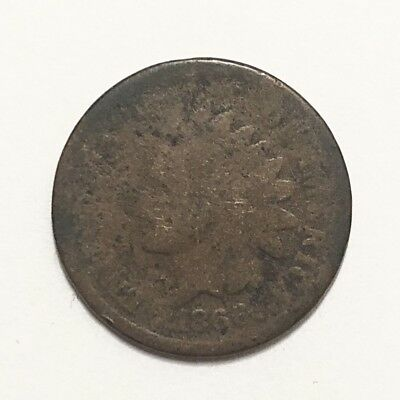 Key Date Rare Indian Head Penny Cent 1866 About Good Grade Civil War Era Coin