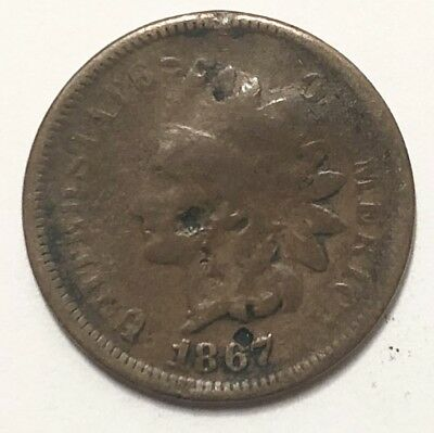 Key Date Rare Indian Head Penny Cent 1867 About Good Grade Civil War Era Coin