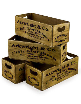 Vintage Style London Fish Market Brown Display Storage Container Crate Wood Box