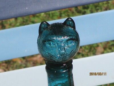 """9"""" tall Vintage Cat Figurine Decanter Bottle Teal-Green figural Glass kitty"""