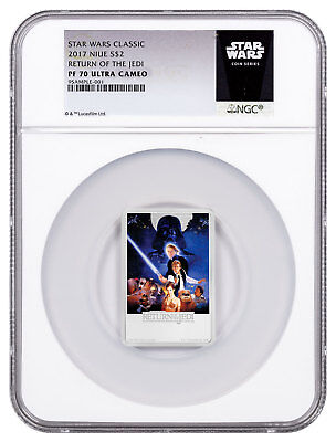 2017 Star Wars Posters Return Jedi 1 oz Silver Rectangle NGC PF70 UC ER SKU49464