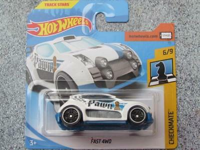 """Hot Wheels 2018 # 290/365 Fast 4wd Blanco Azul"""" Pawn """" Jaque Mate Ajedrez"""