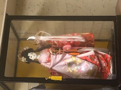 Traditional Japanese Doll in Geisha Kimono with Display Case