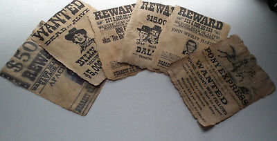 Vintage Look OLD WEST WANTED POSTERS, Set Of 6, Unique - Antiqued by Hand