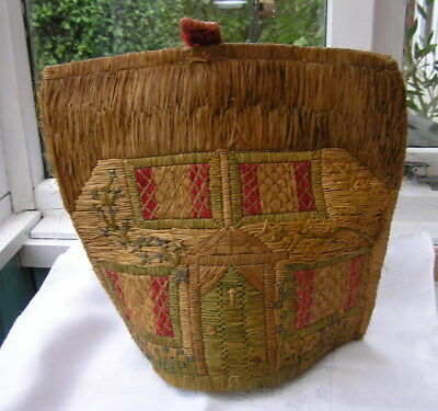 Old Vintage 1930S Art Deco Straw Work English Country Cottage Tea Cosy