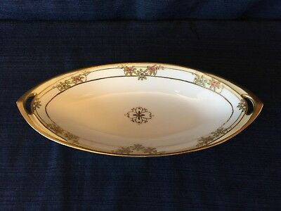 """Antique Nippon Hand Painted in Gold Relish/Celery Dish, 13 1/2"""" Long NIP17"""