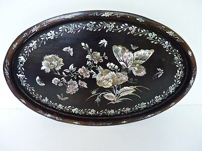 Antique Chinese Cantonese Inlaid Mother of Pearl & Wood Tray c1900