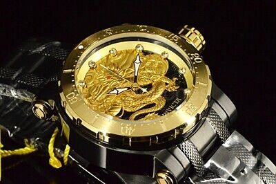 26513 Invicta Coalition Forces Dragon Lord TRIPPLE BLACK Gold SS Bracelet Watc